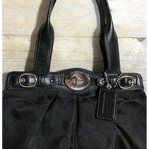 Coach Bags - Coach Garnet Black Sateen Tote Bag Handbag F13906